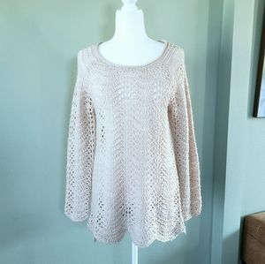 Mystree crochet pullover sweater cream color sz L